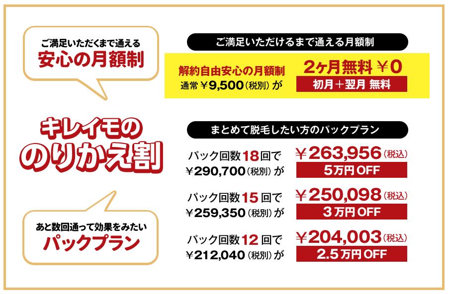 キレイモ新宿の乗り換え割なら月額コースで2ヶ月無料、回数パックコースで最大5万円割引で超お得!
